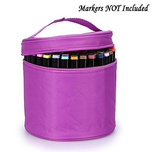 Zippered Multifunction Organizer (BTSKY Multifunction Marker Case -- Zippered Canvas Marker holder Copic Marker Organizer Pen Bag Pencil Case Stationary Storage for 80 Markers, Purple)