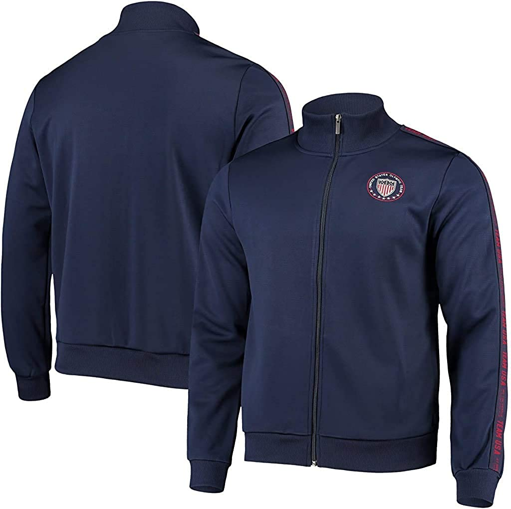 Navy OuterStuff Team USA 2020 Tokyo Summer Olympics Shield Full Zip Mens Track Jacket
