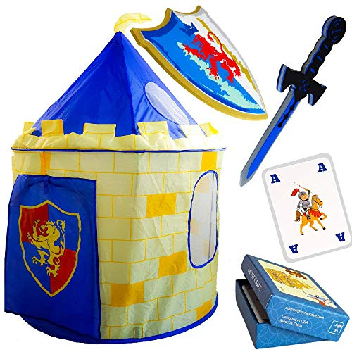 Nona Active Knight Castle Play Tent for Kids - Fast and Easy Setup - Including Thick Foam Sword and Shield - Plus a Box with 23 Card Games - 100% Refund Guarantee