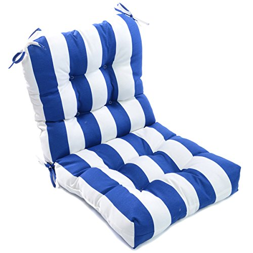 Plush Upholstery (Outdoor Cabana Stripe Chair Cushion, Soft Plush, Thick Button-Tufted Upholstery, Pillow Ties Anchor Securely, Tough Polyester, Blue White, Horizontal Stripes, Water Resistant, Poolside Patio)