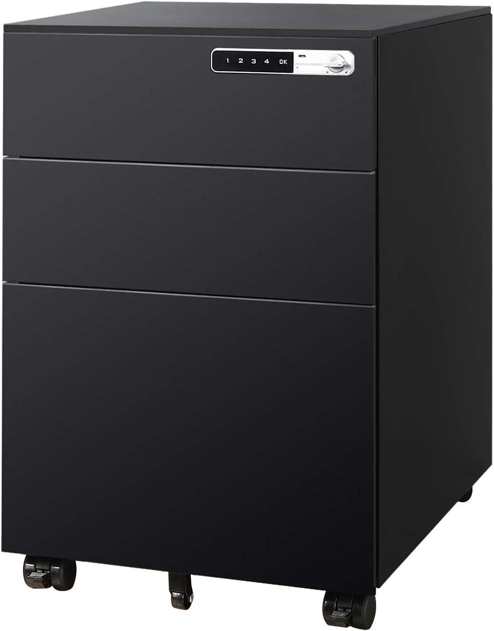 DEVAISE 3-Drawer Mobile File Cabinet with Smart Lock, Pre-Assembled Steel Pedestal Under Desk, Black