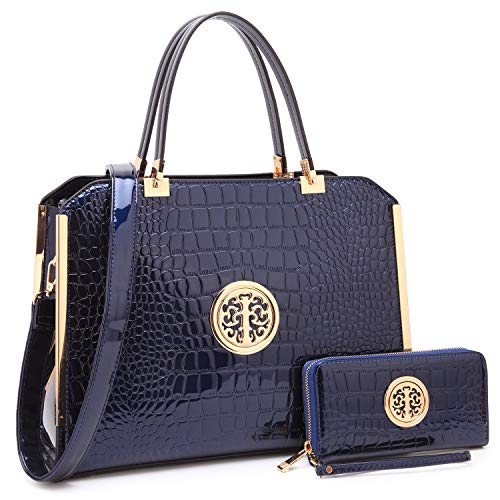 MMK Collection Fashion Women Vegan leather Satchel Handbags with Matching Coin Purse~Studded Deco and Dangling Padlock~Pretty and Cute Gift for Ladies~clutches &handbag Set(7579) (MA-10-6900-W-NV)