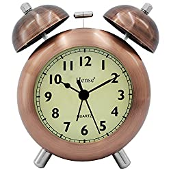 HENSE 4.5'' Retro Vintage Twin Bell Alarm Clocks Mute Silent Quartz Movement Non-ticking Sweep Second Hand Bedside Desk Analog Alarm Clock with Nightlight Loud Alarm,Copper HA17 (Arabic Numerals)