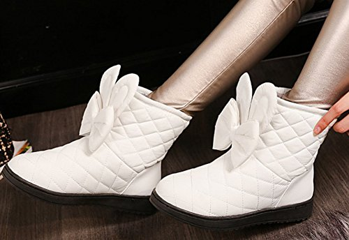 Aisun Womens Cute Warm Quilted Faux Fur Lined Round Toe Down Booties Flat Pull On Ankle Snow Boots With Bows White 3uTdr