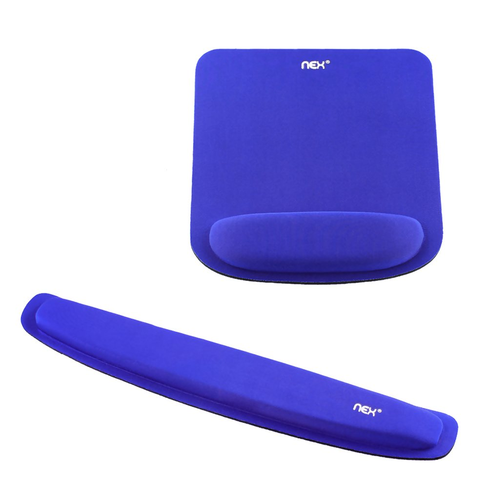 NEX Memory Foam Keyboard Mouse Pad Kit with Wrist Support Non-Slip Wrist Rest for Home, Office & Travel (Blue)