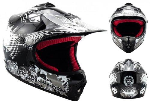 ARROW AKC-49 Black · Enduro MX Kinder-Cross-Helm Kids Moto-Cross-Helm Sport Helmet Kinder-Helm Motorrad-Helm Cross-Helm Junior Cross-Bike Pocket-Bike Quad ,DOT zertifiziert ,inkl. Stofftragetasche ,Schwarz · S (53-54cm)