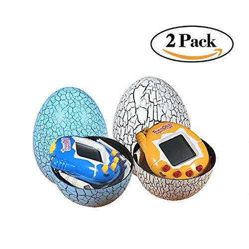 Dinosaur Egg Virtual Pets On A Keychain Digital Pet Electronic Game Blue And White 2 Pack