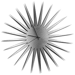 Silver Decor 'MCM Starburst Silver Clock' | Brushed Metal Kitchen Wall Clocks, Silent Non-Ticking Movement (Black Hands)