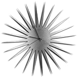 Cheap Silver Decor 'MCM Starburst Silver Clock' | Brushed Metal Kitchen Wall Clocks, Silent Non-Ticking Movement (Black Hands)