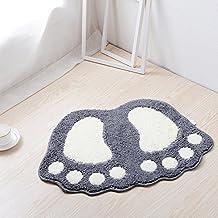 "Jian Ya Na Non Slip Bath Toilet Mat Cute Big Feet Bathroom Shower Rugs Shaggy Carpet Absorbent Doormat Floor Mat Living Room Sofa Cushion Foot Pad Rug (19""x26"" (48x67CM), Grey)"