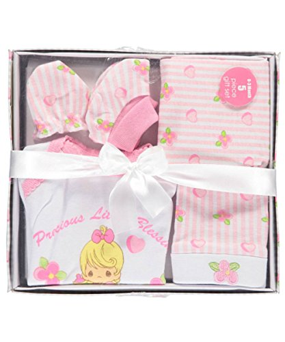 (Precious Moments Baby Girls Little Blessings 5-Piece Layette Gift Set - pink)