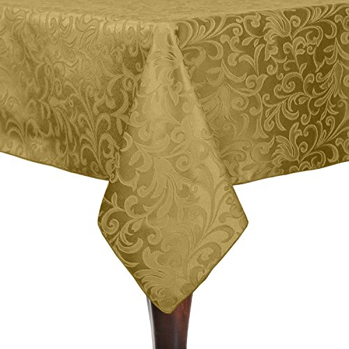Ultimate Textile -2 Pack- Somerset 70 x 144-Inch Rectangular Damask Tablecloth - Jacquard Weave Scroll Design, Gold