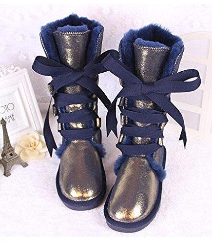 Gaotong Dark Boots shoes snow Blue lady Sheepskin zXrzxa