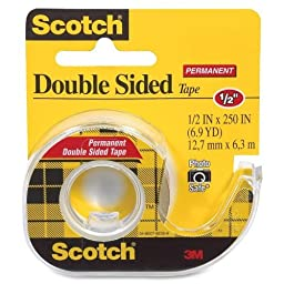 3M Double-Sided Tape with Dispenser, Permanent, 1/2 X 250 Inches, Clear, 6-PACK
