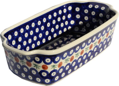 (Polish Pottery Loaf Baker with Handles From Zaklady Ceramiczne Boleslawiec #1381-41, Deep: 2.75