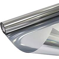 Window Glass Mirror Tint Film,Privacy Screen Residential Interiors Anti Glare Heat Control Environmental Film, Silver