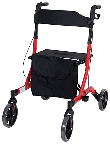 Aidapt - rojo Deluxe Ultra ligero plegable - Andador con 4 ...