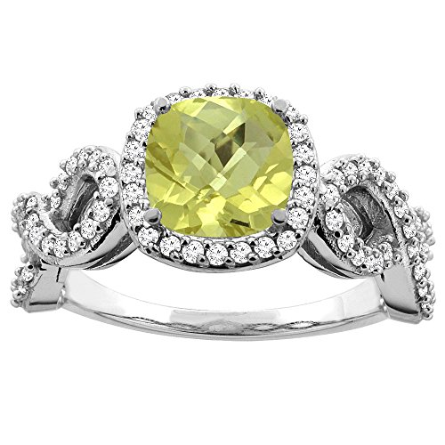 14K White Gold Natural Lemon Quartz Engagement Ring Cushion 7mm Eternity Diamond Accents, size 10