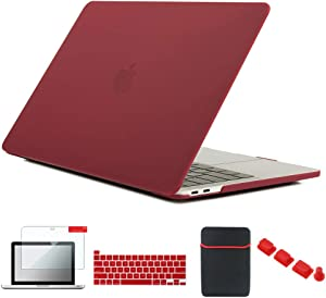 Se7enline 2021/2020 Mac Book Pro 13 inch Case New Laptop Cover Compatible with MacBook Pro 13.3-inch Model M1 A2338/A2251/A2289 with Sleeve Bag, Keyboard Cover, Screen Protector, Dust Plug, Wine Red