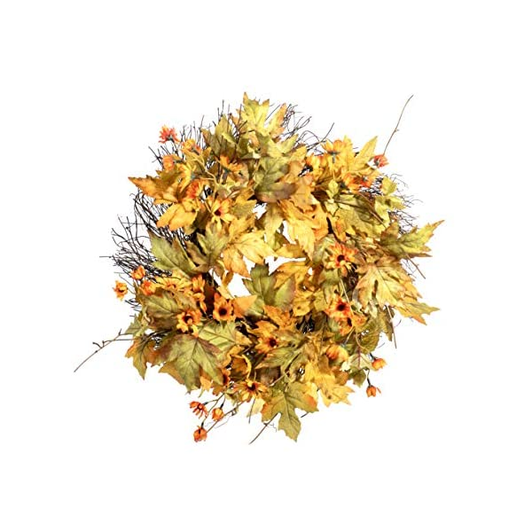 Red Co. Fall Sunshine Maple Leaves Harvest Autumn Wreath – Great Front Door and Wall Decoration – 20″