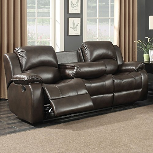 Ac Pacific Samara Collection Modern Upholstered Transitional Reclining Sofa With Dual Recliners