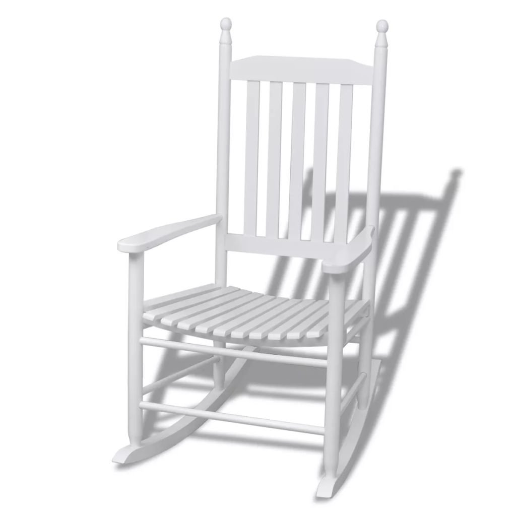 Zora Walter Schaukelstuhl mit gebogener Sitzfl?Che Holz Wei? Sessel Outdoor Rocker Chair Schwingstuhl Relaxstuhl with Size:60,5 x 82 x 114 cm