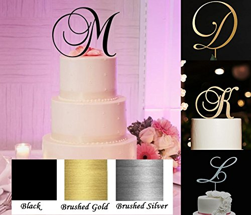 Monogram Acrylic Letter Cake Toppers In Brushed Gold or Brushed Silver A B C D E F G H I J K L M N O P R S T U V W (Letter C, Brushed Silver)
