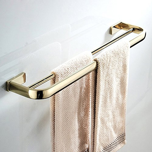 WINCASE 22.4inch Double Towel Bar, Polished Gold Towel Holder, Wall Mounted European Style of Brass for Bathroom