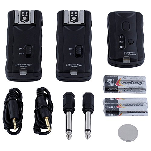 - Neewer 16 Channel Wireless Flash Trigger Set: 1 Transmitter + 3 Receivers + 1 Sync Wire Cable for Canon, Nikon, Pentax, Sigma, Vivitar and Other Flash Units with Universal Hot Shoe