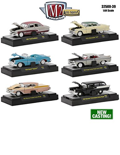 Buick Station Wagon - M2 Machines 1:64 Collection - AUTO-THENTICS Release 39 in Acrylic Cases Diecast Model Car Set of 6 Cars