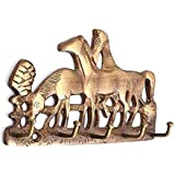 PESCA Brass Antique Wall Mounted Double Lion, Horse and Swan Key Hooks Holder