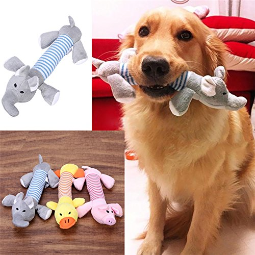 Carlie 3 Pcs/Pack Dog Toys Pet Puppy Chew Squeaker Squeaky Funny Duck Pig Elephant For Your Pet