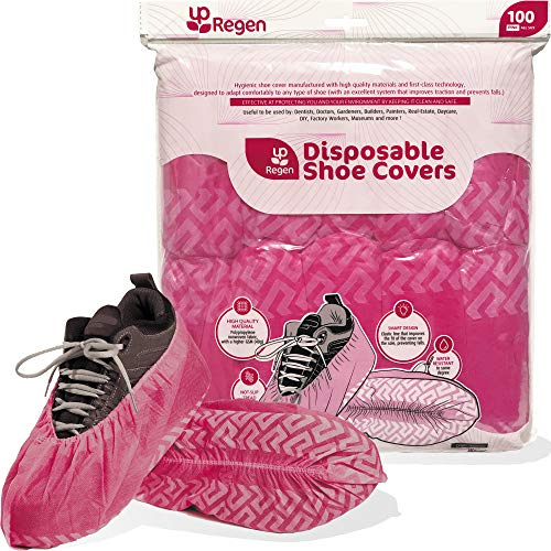 Disposable Shoe & Boot Covers (100 Pack, Pink, GSM 40g) | Protectors, Booties, Non-Slip, Indoors, Resistant, Durable, Waterproof | One Size Fits Most, Smart Design, Hygienic, Non-toxic | Multipurpose