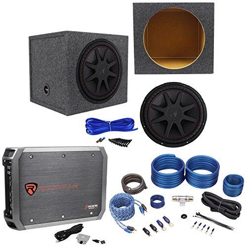 Kicker 43CVR152 COMPVR 15″ 1000W Car Subwoofer+Sealed Box+Mono Amplifier+Amp Kit