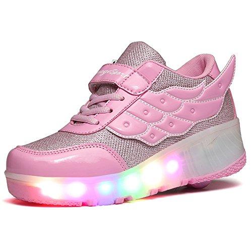 YSNJL LED Light Up Roller Skate Shoes Wheel Flashing Sneakers for Boys Girls-(Single-Pink-28/11 M US Little -