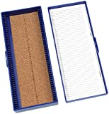Heathrow Scientific HD15996A Blue Cork Lined 50 Place Microscope Slide Box, 8.3'' Length x 3.38'' Width x 1.25'' Height