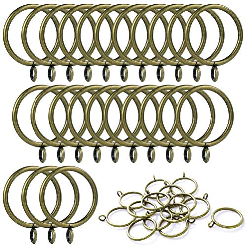 ANJUU 24 Pack 38mm Inner Diameter Metal Curtain Drape Sliding Eyelet Rings Antique Bronze - Antique Eyelet
