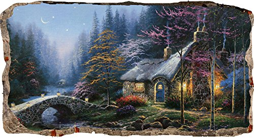 Startonight 3D Mural Wall Art Photo Decor Fairy Landscape Amazing Dual View Surprise Large 32.28 inch By 59.06 inch Wall Mural Wallpaper for Living Room or Bedroom Love Collection Wall Art (Wallpaper $100 Bill)