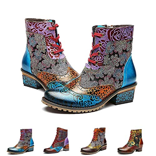gracosy Leather Ankle Bootie, Women's Block Heel Boots Handmade Splicing Pattern Anti-Slip Side Zipper Blue 8 M US - Handmade Shoes Boots