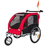 Best Choice Products 2-in-1 Pet Stroller and Trailer w/ Hitch, Suspension, Safety Flag, and Reflectors – Red