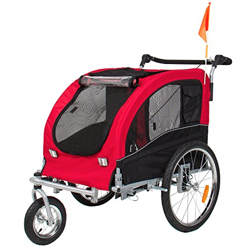 Best Choice Products 2-in-1 Pet Stroller and Trailer w/Hitch, Suspension, Safety Flag, and Reflectors – Red