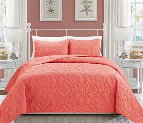Everrouge Coral 3 Piece Bedspread Set, Peach Queen