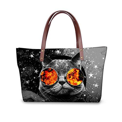 2 Showudesigns for Galaxy color Tote Women Cat Handbag Neoprene Youth Stylish Travel PIPqrZ