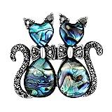 Gabrine Womens Girls Fashion Jewelry Crystal Rhinestone-Studded Animal Enamel Rhinestone-Studded Brooch Breastpin Sweater Pin Lapel Pin for Wedding Bridal Party Prom(Cat)