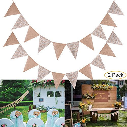 2 Pack Burlap Chic Lace Jute Banner, DIY Decoration Vintage Triangle Bunting 10Pcs Flag Cloth For Wedding Birthday Party Baby Shower Valentien's Day Home Decor - Ideas Day Valentiens