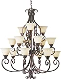 Maxim 12209FIOI Manor 15-Light Chandelier, Oil Rubbed Bronze Finish, Frosted Ivory Glass, MB Incandescent Incandescent Bulb , 40W Max., Dry Safety Rating, Standard Dimmable, Opal Glass Shade Material, Rated Lumens For Sale