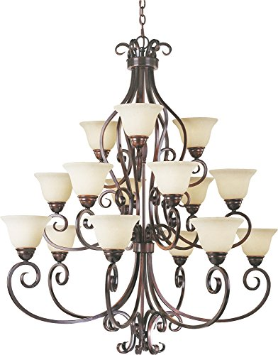 Maxim 12209FIOI Manor 15-Light Chandelier, Oil Rubbed Bronze Finish, Frosted Ivory Glass, MB Incandescent Incandescent Bulb , 40W Max., Dry Safety Rating, Standard Dimmable, Opal Glass Shade Material, Rated Lumens