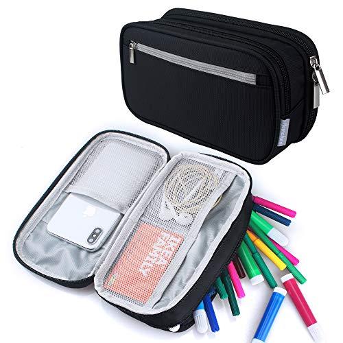 Black Pencil Case Pen Case Pencil Bag Pouch Holder for Middl
