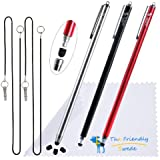The Friendly Swede - Juego de 3 lápices capacitivos, 3 puntas de repuesto, 2 cordones elásticos de 38 cm y 1 gamuza limpiadora