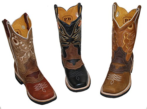 Genuine western cowboy Leather BOOTS square Cowhide Brown Men toe rodeo Cognac S7qF5AOq